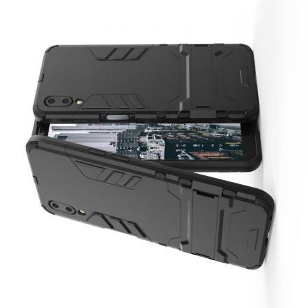 Защитный усиленный гибридный чехол противоударный с подставкой для Meizu E3 Черный