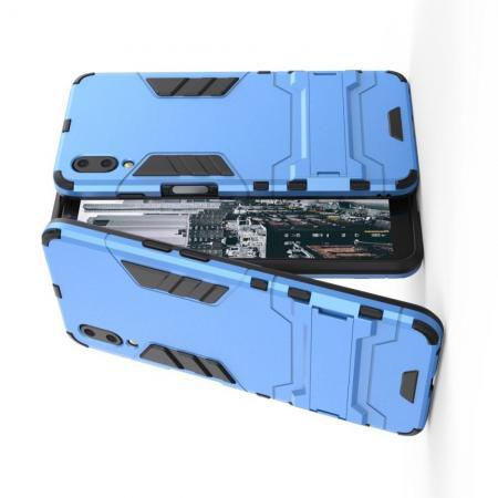 Защитный усиленный гибридный чехол противоударный с подставкой для Meizu E3 Голубой