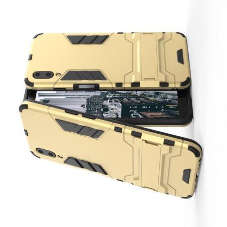 Защитный усиленный гибридный чехол противоударный с подставкой для Meizu E3 Золотой