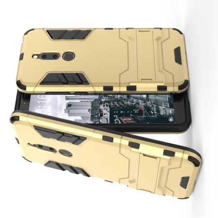 Защитный усиленный гибридный чехол противоударный с подставкой для Meizu M6T Золотой