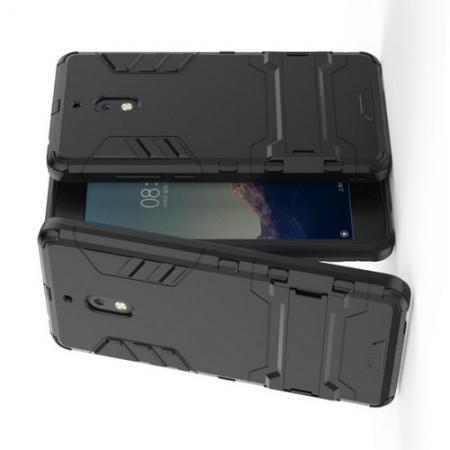 Защитный усиленный гибридный чехол противоударный с подставкой для Nokia 2.1 2018 Черный