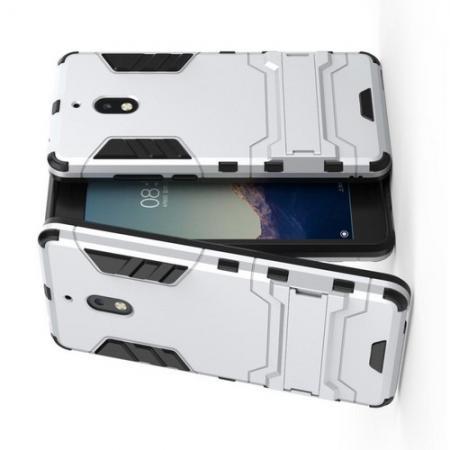 Защитный усиленный гибридный чехол противоударный с подставкой для Nokia 2.1 2018 Белый