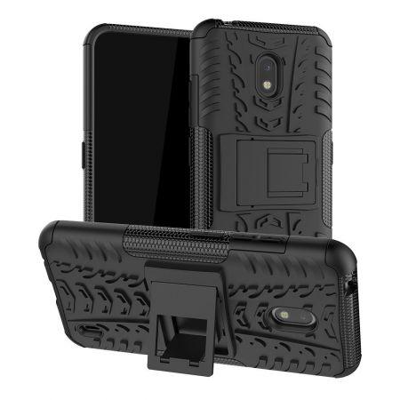 Защитный усиленный гибридный чехол противоударный с подставкой для Nokia 2.2 Черный