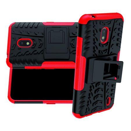 Защитный усиленный гибридный чехол противоударный с подставкой для Nokia 2.2 Красный