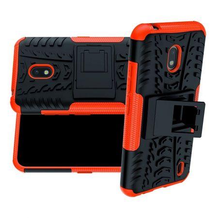 Защитный усиленный гибридный чехол противоударный с подставкой для Nokia 2.2 Оранжевый