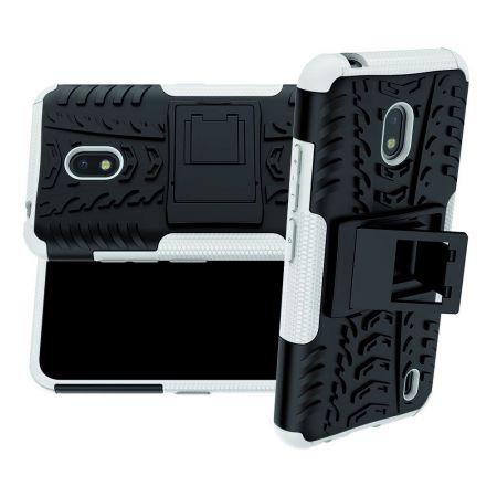 Защитный усиленный гибридный чехол противоударный с подставкой для Nokia 2.2 Серый