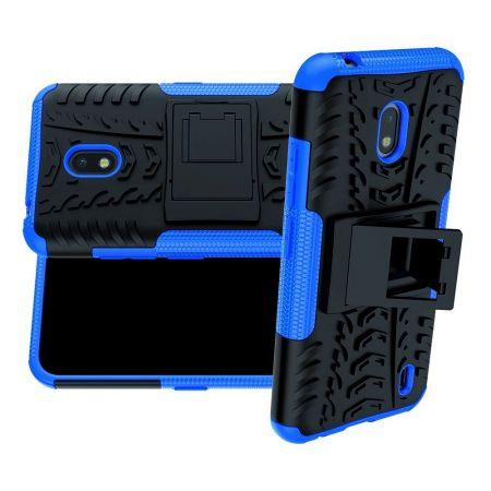 Защитный усиленный гибридный чехол противоударный с подставкой для Nokia 2.2 Синий