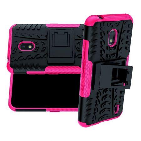 Защитный усиленный гибридный чехол противоударный с подставкой для Nokia 2.2 Светло Розовый
