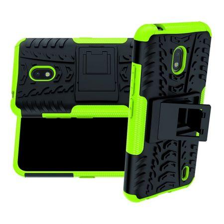 Защитный усиленный гибридный чехол противоударный с подставкой для Nokia 2.2 Зеленый