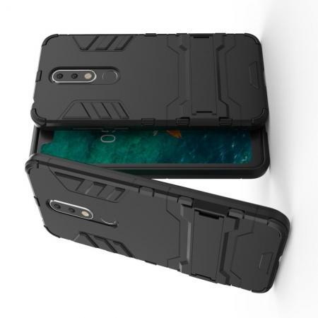 Защитный усиленный гибридный чехол противоударный с подставкой для Nokia 5.1 Plus Черный
