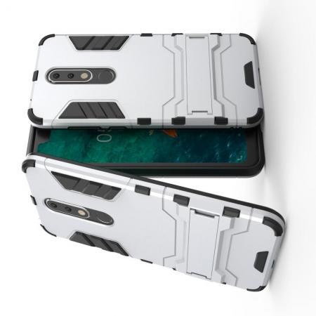 Защитный усиленный гибридный чехол противоударный с подставкой для Nokia 5.1 Plus Белый