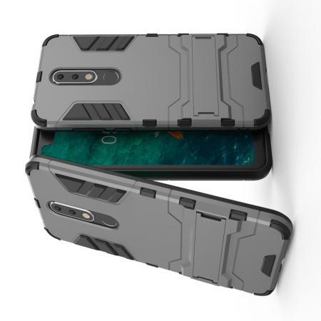 Защитный усиленный гибридный чехол противоударный с подставкой для Nokia 5.1 Plus Серый