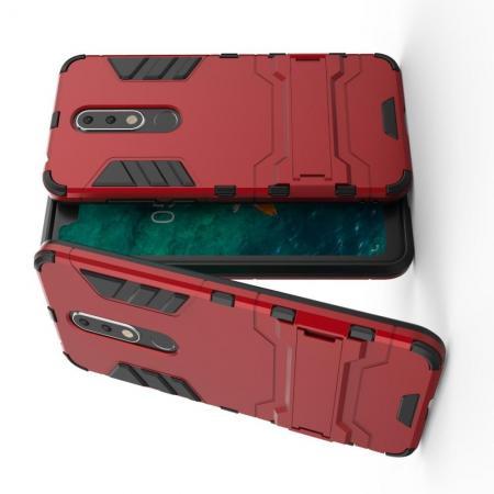 Защитный усиленный гибридный чехол противоударный с подставкой для Nokia 5.1 Plus Красный