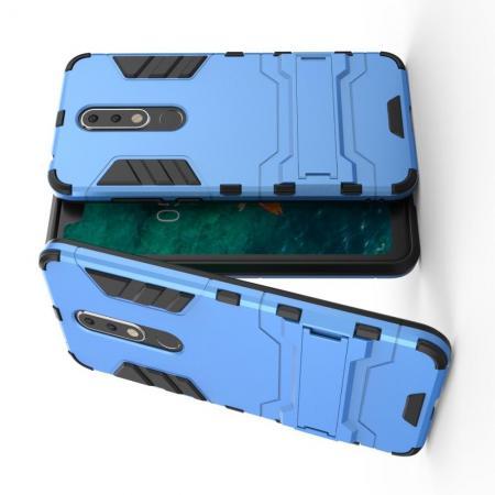 Защитный усиленный гибридный чехол противоударный с подставкой для Nokia 5.1 Plus Голубой