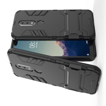 Защитный усиленный гибридный чехол противоударный с подставкой для Nokia 6.1 Plus Черный