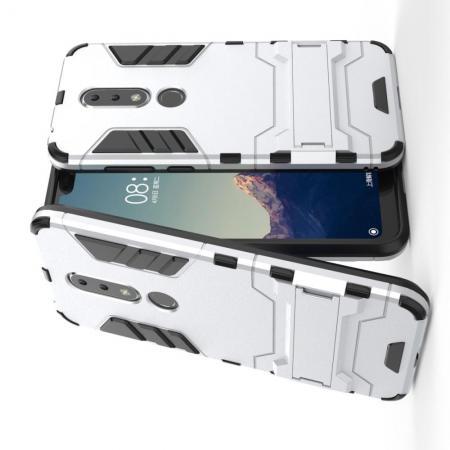 Защитный усиленный гибридный чехол противоударный с подставкой для Nokia 6.1 Plus Белый