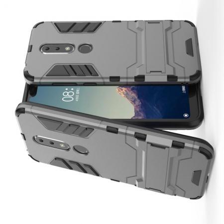Защитный усиленный гибридный чехол противоударный с подставкой для Nokia 6.1 Plus Серый