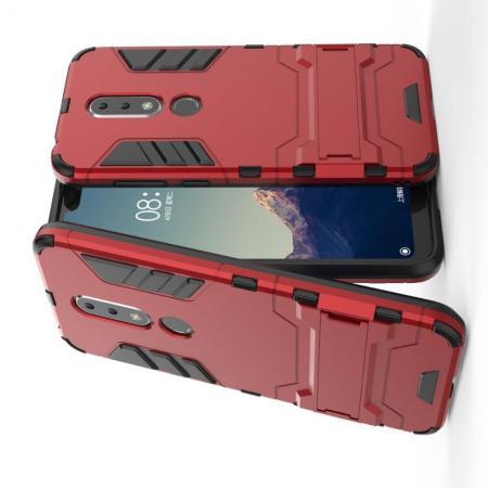 Защитный усиленный гибридный чехол противоударный с подставкой для Nokia 6.1 Plus Красный