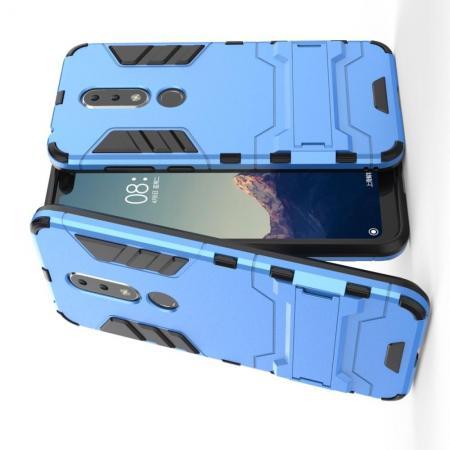 Защитный усиленный гибридный чехол противоударный с подставкой для Nokia 6.1 Plus Голубой
