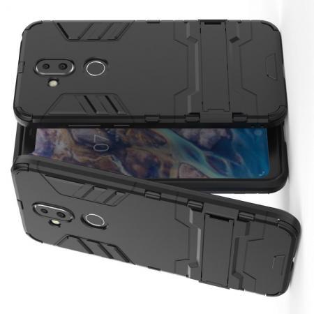 Защитный усиленный гибридный чехол противоударный с подставкой для Nokia 8.1 Черный