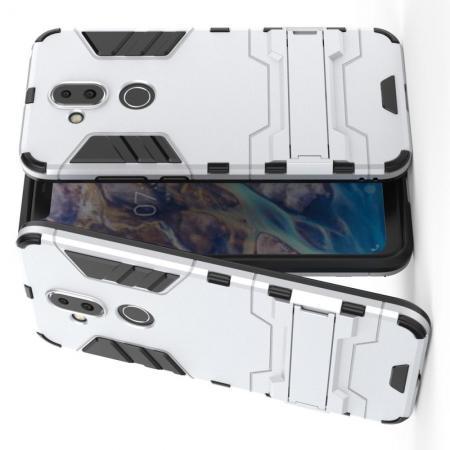 Защитный усиленный гибридный чехол противоударный с подставкой для Nokia 8.1 Серебряный