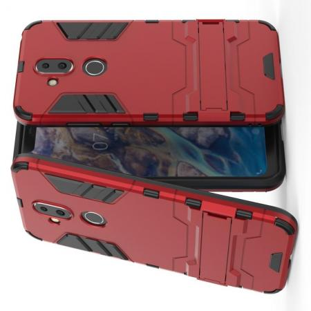 Защитный усиленный гибридный чехол противоударный с подставкой для Nokia 8.1 Красный