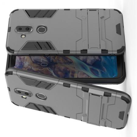 Защитный усиленный гибридный чехол противоударный с подставкой для Nokia 8.1 Серый