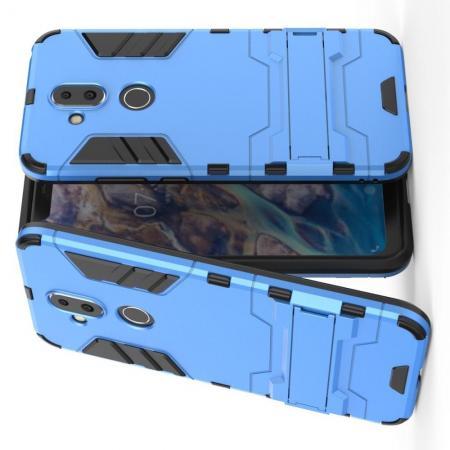 Защитный усиленный гибридный чехол противоударный с подставкой для Nokia 8.1 Синий