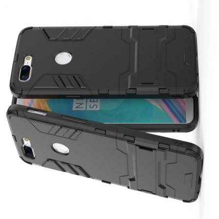 Защитный усиленный гибридный чехол противоударный с подставкой для OnePlus 5T Черный