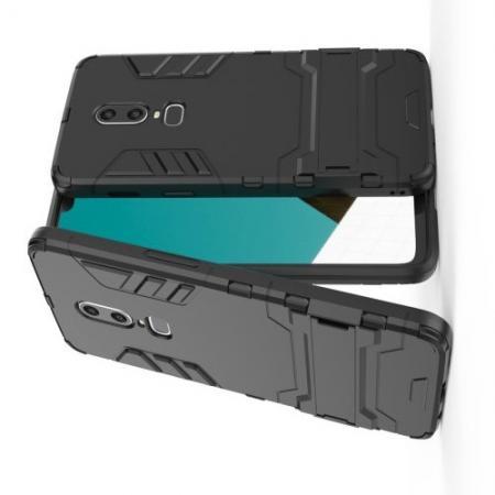 Защитный усиленный гибридный чехол противоударный с подставкой для OnePlus 6 Черный