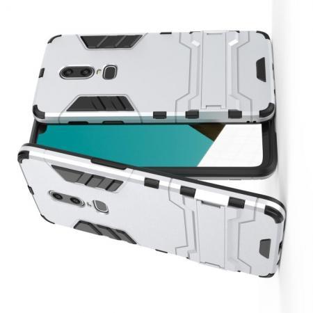 Защитный усиленный гибридный чехол противоударный с подставкой для OnePlus 6 Белый