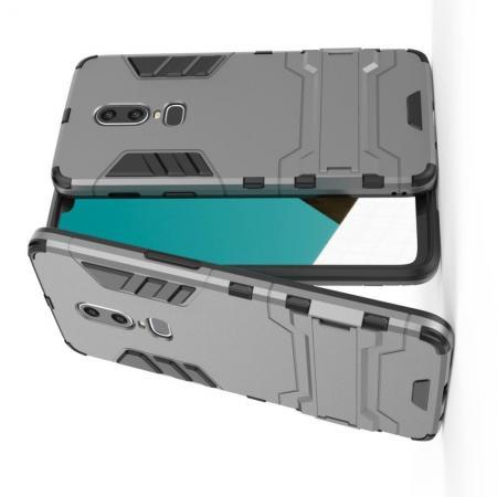 Защитный усиленный гибридный чехол противоударный с подставкой для OnePlus 6 Серый