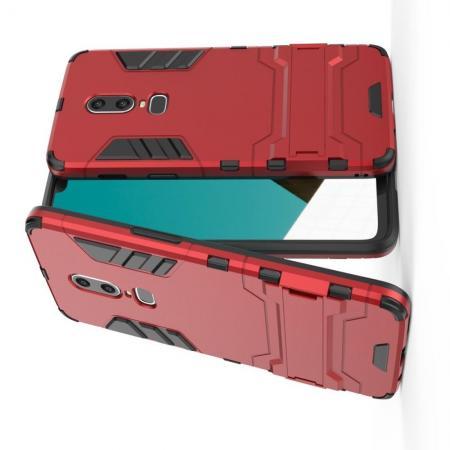 Защитный усиленный гибридный чехол противоударный с подставкой для OnePlus 6 Красный