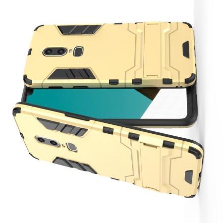 Защитный усиленный гибридный чехол противоударный с подставкой для OnePlus 6 Золотой