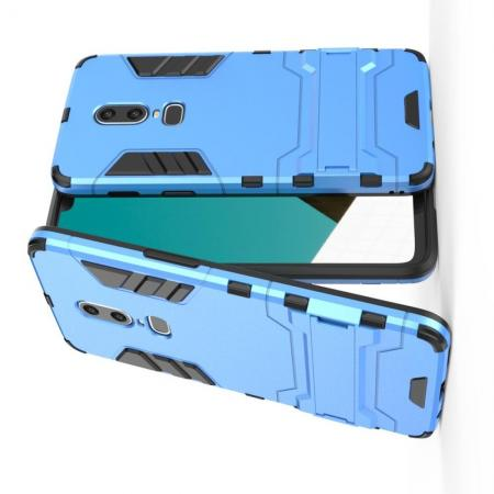 Защитный усиленный гибридный чехол противоударный с подставкой для OnePlus 6 Голубой