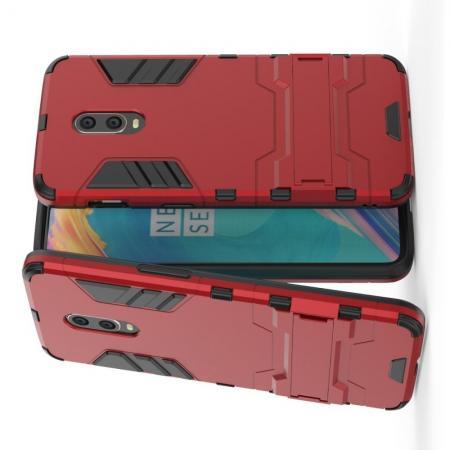 Защитный усиленный гибридный чехол противоударный с подставкой для OnePlus 7 Красный