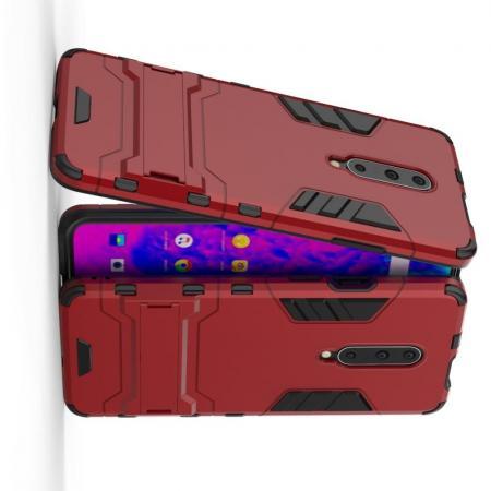 Защитный усиленный гибридный чехол противоударный с подставкой для OnePlus 7 Pro Красный