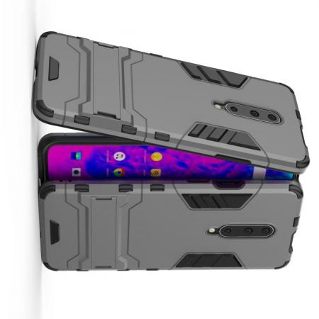 Защитный усиленный гибридный чехол противоударный с подставкой для OnePlus 7 Pro Серый