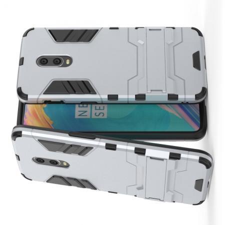 Защитный усиленный гибридный чехол противоударный с подставкой для OnePlus 7 Серебряный