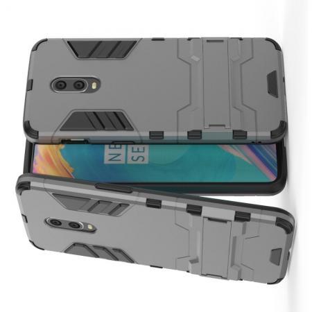 Защитный усиленный гибридный чехол противоударный с подставкой для OnePlus 7 Серый