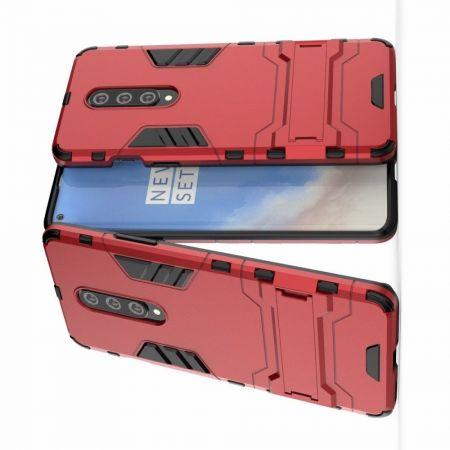 Защитный усиленный гибридный чехол противоударный с подставкой для OnePlus 8 Красный