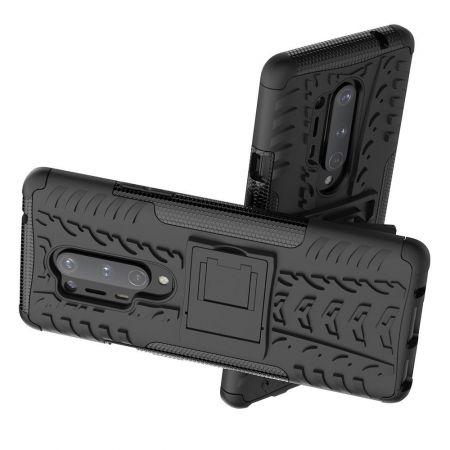 Защитный усиленный гибридный чехол противоударный с подставкой для OnePlus 8 Pro Черный