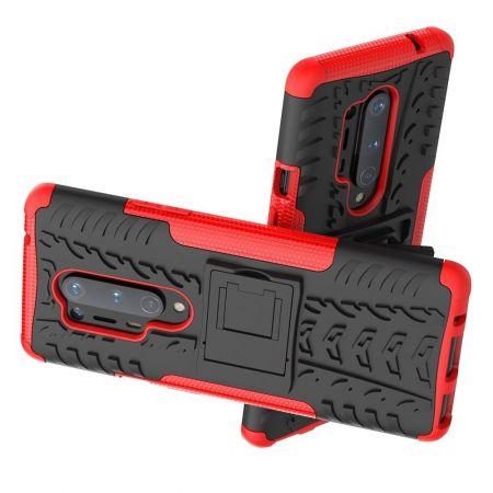 Защитный усиленный гибридный чехол противоударный с подставкой для OnePlus 8 Pro Красный