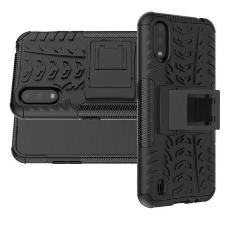 Защитный усиленный гибридный чехол противоударный с подставкой для Samsung Galaxy A01 Черный