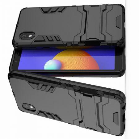 Защитный усиленный гибридный чехол противоударный с подставкой для Samsung Galaxy A01 Core Черный