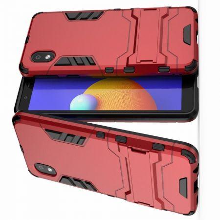 Защитный усиленный гибридный чехол противоударный с подставкой для Samsung Galaxy A01 Core Красный