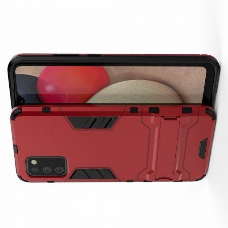 Защитный усиленный гибридный чехол противоударный с подставкой для Samsung Galaxy A02s Красный