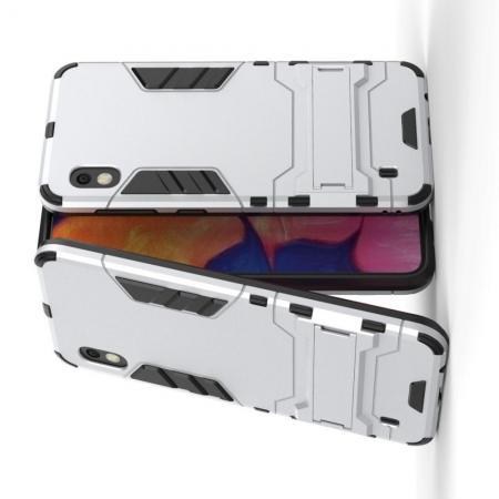 Защитный усиленный гибридный чехол противоударный с подставкой для Samsung Galaxy A10 Серебряный