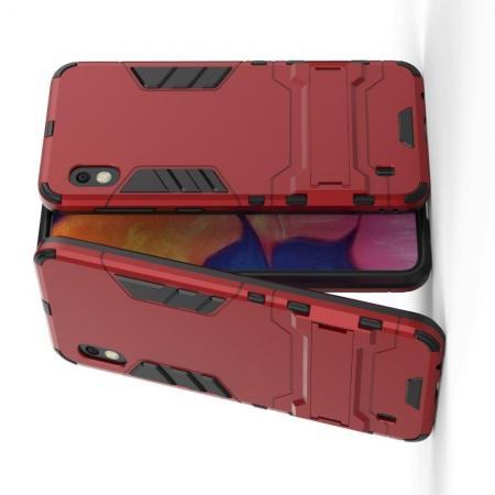 Защитный усиленный гибридный чехол противоударный с подставкой для Samsung Galaxy A10 Красный
