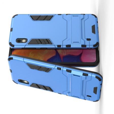Защитный усиленный гибридный чехол противоударный с подставкой для Samsung Galaxy A10 Синий